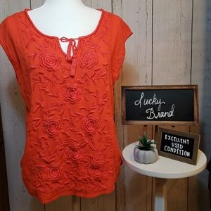 EUC + Lucky Brand + Orange Top with embroidery